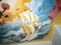 Deckenmalerei mit Viermaster im Sturm