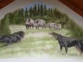 Giebelbemalung mit Bracken und Wildschweinen