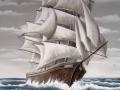 Fassadenmalerei mit Segelschiff im Sturm