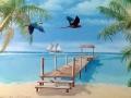 Wandmalerei mit Papageien und Segelschiff in der Südsee