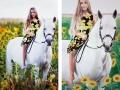 Portrait mit Mädchen auf Pferd