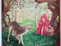 Wandmalerei mit Rotkäppchen und der Wolf im Birkenwald
