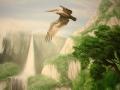 Wandmalerei mit fliegendem Pelikan über den Bergen