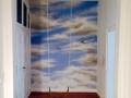 Wandmalerei Flurwand mit Wolkenhimmel
