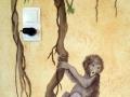 Wandbemalung mit Äffchen an der Liane