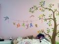 Wandmalerei Kinderzimmer mit Baum und Schmetterling