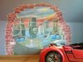 Wandmalerei Kinderzimmer mit Stadt der Zukunft