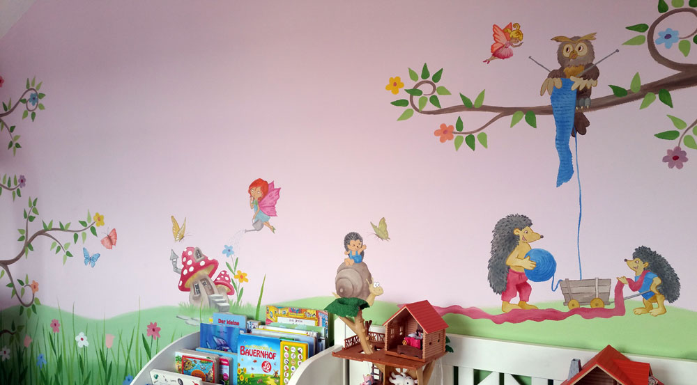kinderzimmer malereien mit wunschmotiven f r ihre kleinen. Black Bedroom Furniture Sets. Home Design Ideas