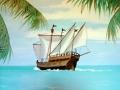 Wandmalerei im Kinderzimmer mit Piratenschiff