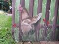Tier und Jagdmalerei mit Zaun und Huhn