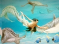 Tier und Jagdmalerei mit Portraitmalerei Meerjungfrau