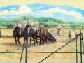 Fassadenmalerei, Tier und Jagdmalerei mit Pferden bei der Feldarbeit