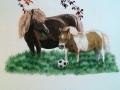 Fassadenmalerei, Tier und Jagdmalerei mit Ponys