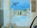 Wandmalerei, Tier und Jagdmalerei mit Illusion einer versunkenen Stadt