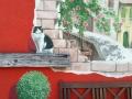 Fassadenmalerei, Tier und Jagdmalerei mit Katze auf Holzbalken