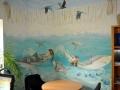 Wandmalerei, Tier und Jagdmalerei mit Wasserfall und Unterwasserwelt