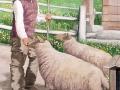 Fassadenmalerei, Tier und Jagdmalerei mit Schäfer und Schafen