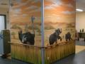 Wandmalerei, Tier und Jagdmalerei mit Vogel Strauß und Elefanten
