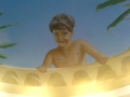 Deckenmalerei und Portraitmalerei mit Junge an der Mauer
