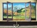 Fassadenmalerei mit Watzmann im geöffneten Fenster