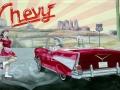 Fassadenmalerei mit James Dean und Marilyn Monroe im Retrostyle