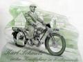 Fassadenmalerei Karl Schmelz auf Motorrad im Vintagestyle