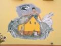 Fassadenmalerei und Portraitmalerei Frau im Sturm