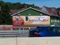 Fassadenbemalung mit Schriftenmalerei Bavaria Alm alte Werbung