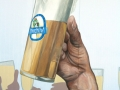 Fassadenmalerei mit Bierglas in der Hand