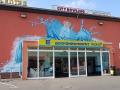 Fassadenmalerei mit Wasserflasche Edeka