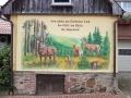 Lüftlmalerei und Jagdmalerei mit Hirsch auf einer Lichtung