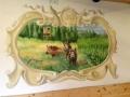 Wandmalerei mit Schwarzwild im Wald
