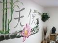 wandmalerei bambus lotus steine