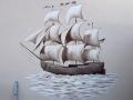 Fassadenmalerei mit Dreimaster Segelschiff in sepia