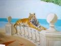 Tier und Jagdmalerei mit Tiger auf Ballustrade