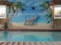 Wandmalerei mit karibischem Palmenstrand