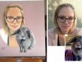 Portraitmalerei Frau mit Hase