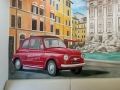 Wandmalerei mit Fiat 500
