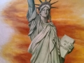 Wandmalerei mit Freiheitsstatue im Abendrot