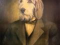 Portraitmalerei Hundekopf im Anzug