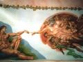 Wandbild die Erschaffung Adams nach Michelangelo