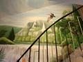 Wandmalerei mit Wasserfall und Pelikan in den Bergen