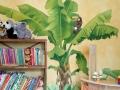 Wandbemalung mit Bananenbaum und Tukan
