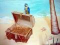 Wandmalerei im Kinderzimmer mit Papagei auf einer Schatztruhe