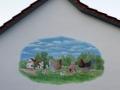 Fassadenmalerei, Tier und Jagdmalerei und Giebelbemalung mit Wyandotten auf der Wiese