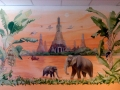 Wandmalerei, Tier und Jagdmalerei mit Elefanten am Fluss