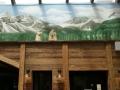 Wandmalerei, Tier und Jagdmalerei mit Murmeltieren in den Bergen