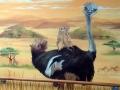 Wandmalerei, Tier und Jagdmalerei mit Strauß und Erdmännchen