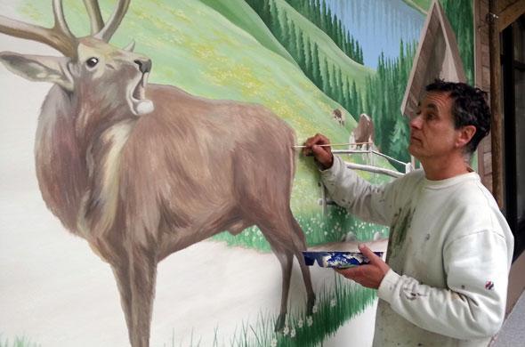tier und jagdmalerei hirsch und almhütte malen
