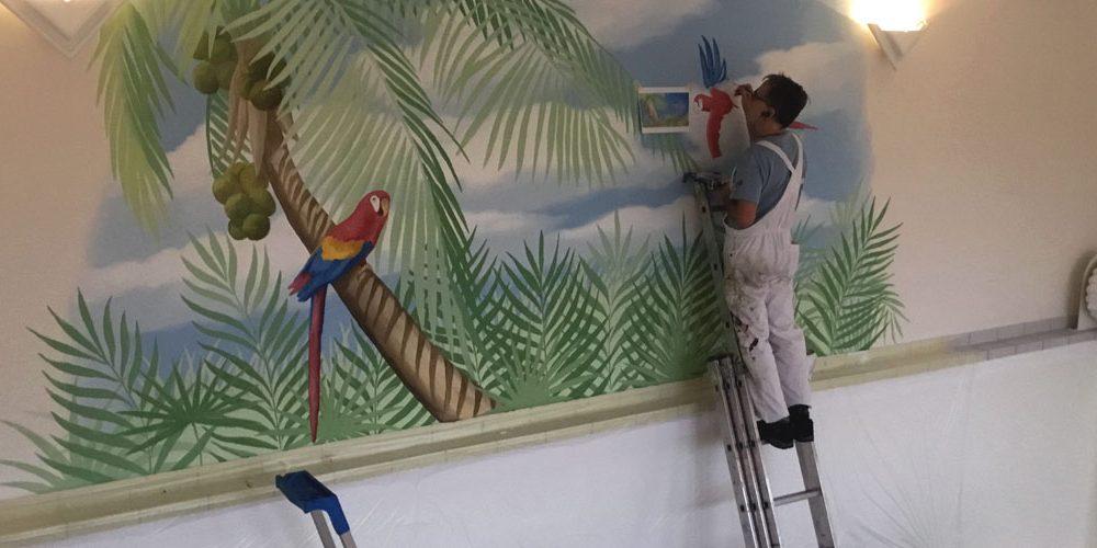 Tropische Wandmalerei Schwimmbad